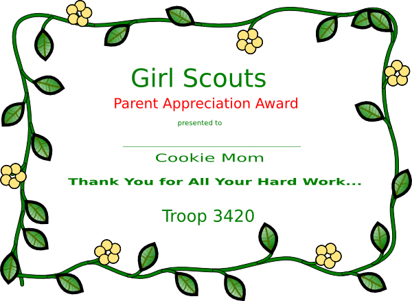 Girl scout cookie mom certificate clip art at clker vector download this image as yelopaper Gallery