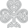 Shamrock Knotwork White Clip Art
