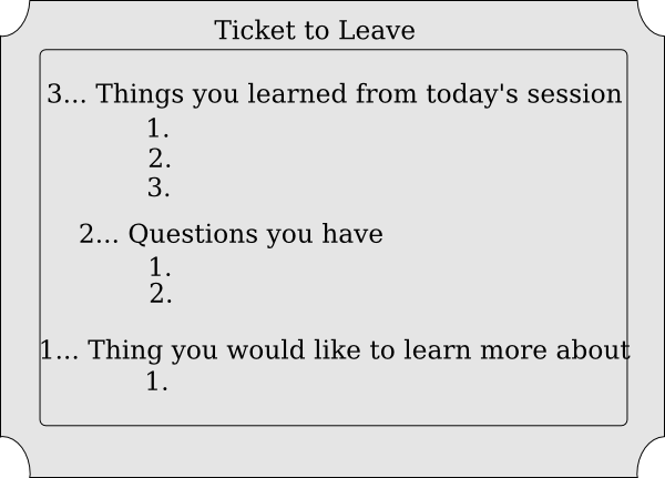 Clipart exit ticket