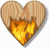 Flaming Wooden Heart Clip Art