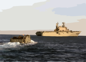 Landing Craft Utility One Six Five Four Returns To The Amphibious Assault Ship Uss Saipan. Clip Art