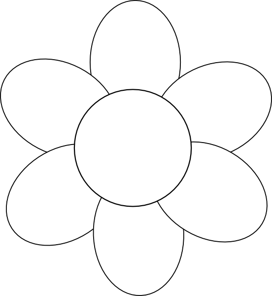 Flower Outline Drawing : Flower six petals black outline clip art at clker