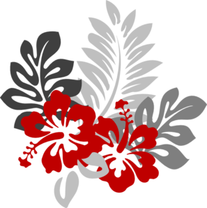 Right Red And Grey Hibiscus Clip Art