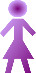 Purple Female Stick Figure Clip Art
