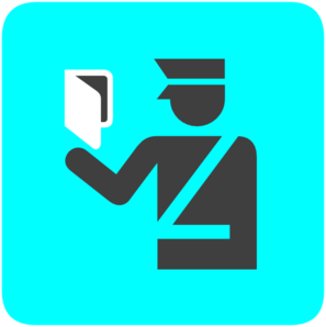 Immigration Police In Bright Blue Clip Art