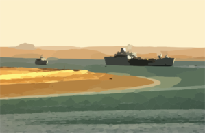 The Royal Fleet Auxiliary, Landing Ship Logistic Rfa Sir Galahad (l 3005) Arrives In The Iraqi Port City Of Umm Qasr Delivering The First Shipment Of Humanitarian Aid From Coalition Forces. Clip Art