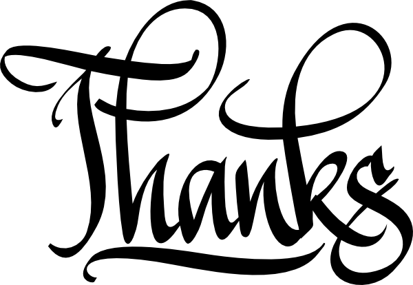 Thanks digital calligraphy clip art at vector Thank you in calligraphy writing