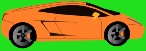 Orange Car (green Background) Clip Art