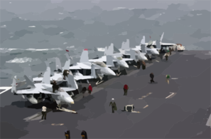 F/a-18  Hornet  And  Super Hornet  Strike Fighters Stand Ready On The Ship S Forward Flight Deck. Clip Art