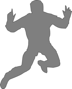 Jumping Guy High Gray Clip Art