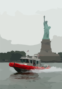 A U.s. Coast Guard Boat Patrols The In New York Harbor By The Statue Of Liberty As Part Of Their Homeland Security Mission Clip Art