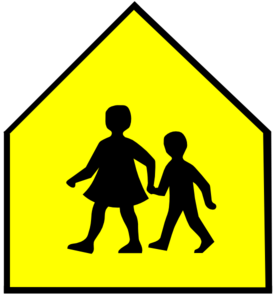 Totetude School Crossing Sign Yellow Clip Art