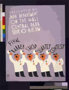 Final Barber Shop Quartet Contest Presented By Park Department On The Mall, Central Park Sept. 10, 8:15 P.m. Clip Art