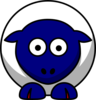 Sheep Looking Straight White With Blue Face And Red Nails Clip Art
