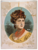 [bust View Of Woman Wearing Treble Clef Headpiece, Yellow Dress, And Red Necklace] Clip Art
