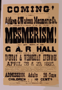 Coming! Aitken & Watson Mesmeric Co. Will Commence A Series Of Entertainments In Mesmerism! To Be Held In G.a.r. Hall, Attleboro, Mass. On Tuesday & Wednesday Evenings, April 28 & 29, 1885. Clip Art
