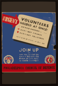 Urgent - Volunteers Needed At Once! Join Up At Any Police Station, Any Firehouse, [or] Room 201 City Hall, 16 South 15th Street. Clip Art