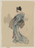 [woman, Full-length Portrait, Standing, Facing Left, Holding Fan In Right Hand, Wearing Kimono With Check Design] Clip Art