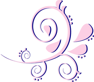 Paisley Curves Pink On Blue Clip Art