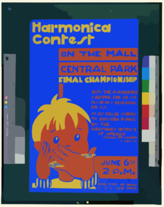 Harmonica Contest On The Mall, Central Park Final Championship. Clip Art