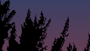 Tree Landscape At Night Clip Art