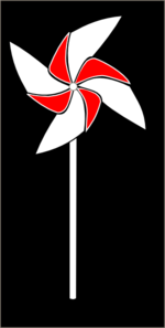Red And White Pinwheel On Black Background Clip Art
