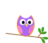 Twin Pink Owls On Branch Clip Art at Clker.com - vector ...