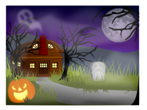 Haunted House With Fog Clip Art