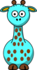 Light Blue Giraffe With 18 Dots Clip Art