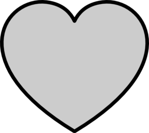 Solid Gray Heart With Black Outline Clip Art