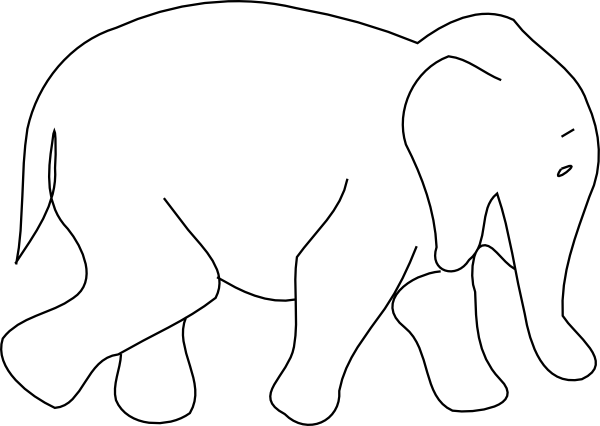 Baby Elephant Outline Clip Art at Clker.com - vector clip ...