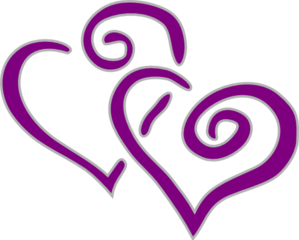 Interwined Heart Purple And Silver Clip Art