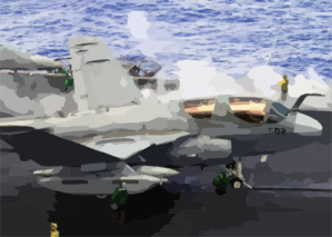 An Ea-6b Prowler Unfolds Its Wings On The Flight Deck Of Uss Constellation (cv 64) In Preparation For Launching From One Of Four Steam Power Catapults. Clip Art