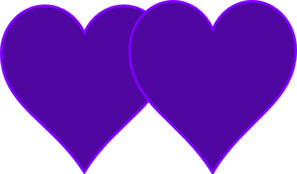 Double Lined Purple Hearts Clip Art