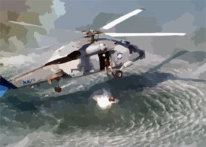 A Search And Rescue (sar) Swimmer Prepares To Jump From An Sh-60b  Seahawk  Helicopter Clip Art