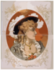 [bust View Of Woman, Wearing Plumed Hat And Gray Dress] Clip Art