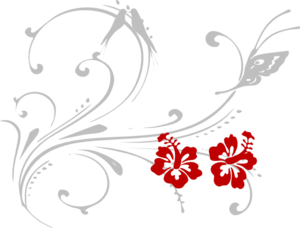 Butterfly Scroll Hibiscus Clip Art