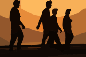 Crewmembers Walk Across The Ship S Flight Deck Before The Sun Sets Over The Arabian Sea. Clip Art
