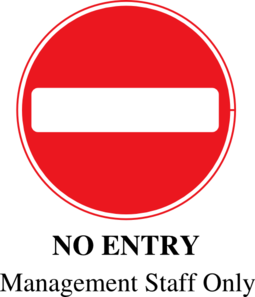 No Entry Management Only Clip Art