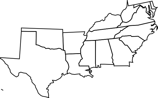 Southeast Us Clip Art At Clkercom Vector Clip Art Online Label - Blank map of eastern portion of us