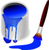 Blue Paint Brush And Can Clip Art