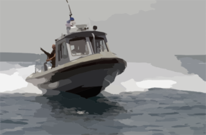 Personnel Assigned To Naval Station Guantanamo Bay Security Harbor Defense On Patrol. Clip Art