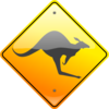 Kangaroo Sign Grey Clip Art