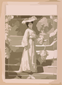 [full Length Image Of Woman, Standing On Steps, Wearing Hat And Long Dress, Holding Parasol]  Clip Art