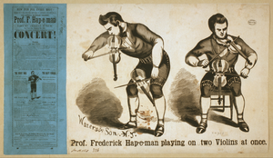 Prof. Frederick Hap-e-man Playing On Two Violins At Once Image