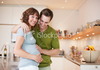 Stock Photo Happy Pregnant Woman With Her Husband In Kitchen Image