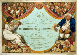 [title Page Of George Murgatroyd Woodward, The Caricature Magazine Or Hudibrastic Mirror, With A Laughing Mask Of John Bull Type, Flanked By A Woman And A Man Seated And Lauging, Both Ugly And Elderly. The Curtain Drops On Each Side Of The Central Mask To Disclose Caricature Heads] Image