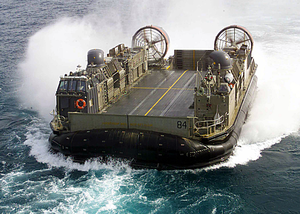 Hopper 36 From Assault Craft Unit Four (acu-4) Makes Its Approach To The Well Deck Of The Uss Kearsarge (lhd 3) During Landing Craft Air Cushion (lcac) Operations In The Arabian Gulf. Image