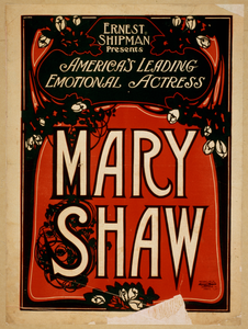 Ernest Shipman Presents America S Leading Emotional Actress, Mary Shaw Image