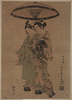 The Actors Sanogawa Ichimatsu And Segawa Kikunojō As Lovers Beneath An Umbrella. Image